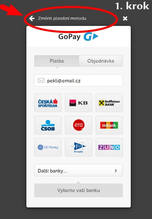 změna platební metody eKNIHOVNA.cz