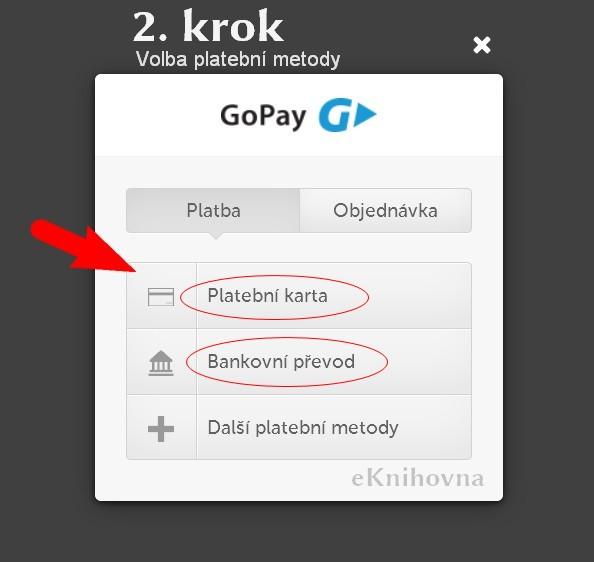 výběr platební metody eKNIHOVNA.cz 2 krok