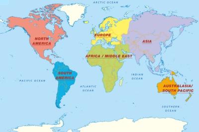 Mapa světa světadíly, oceány AJ