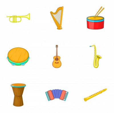 Hudební nástroje kreslené barevné