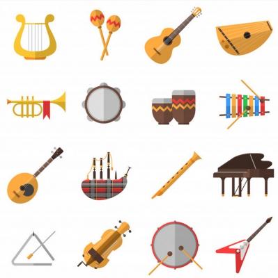Hudební nástroje kreslené barevné 16 obrázků