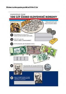 Pracovní list peníze ČNB pro děti od 10 do 15 let
