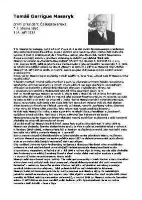 Životopis T.G. Masaryk první Československý prezident