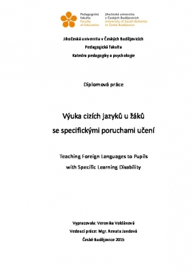 Výuka cizích jazyků u žáků se specifickými poruchami učení