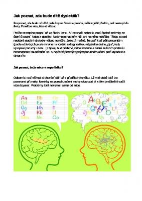 Jak poznat, zda bude dítě dyslektik?