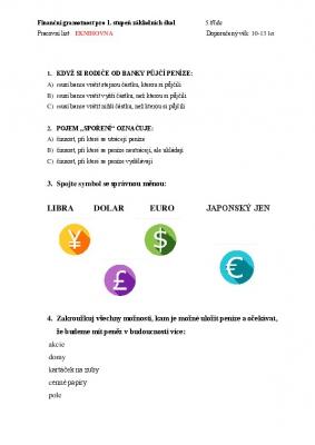 Finanční gramotnost pro 5. třídu