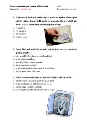 Finanční gramotnost pro 6. třídu II.
